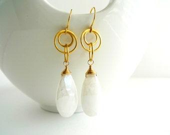 White Silverite 22K Gold Plated Vermeil Earrings for Bridal, Anniversary, Birthday gift