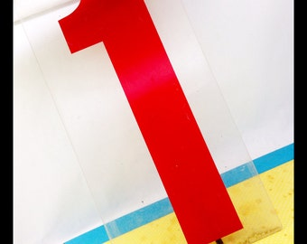 "HUGE number 1 one -  vintage clear RED plastic sign number- gas station price number 19"" tall - Industrial number"