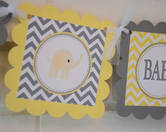 Elephant Baby Shower banner, mod elephant, yellow and grey, includes name, elephant banner