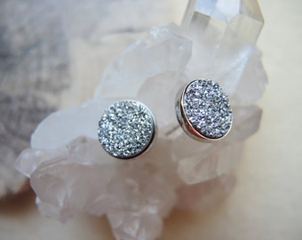 Silver Druzy Studs, Sterling Silver Studs, Druzy Earrings, Druzy Stone Stud Earrings, Druzy Jewelry Gifts For Her, Silver Bezel Studs, Gifts