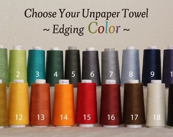 Unpaper Towel Organic Birdseye Cotton Unbleached Reusable -- Set of 24, Choose Your Edging Colour Thread