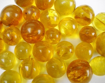 """1/4""""-1/2"""" Real Amber Marble Sphere Gemstone orange and yellow"""