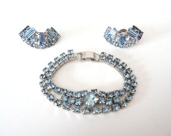 Ice Blue Rhinestones Bracelet Earrings Set Demi Parure Silver Tone from TreasuresOfGrace