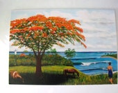 Four Art Cards Of Scenes Of Rincon Puerto Rico