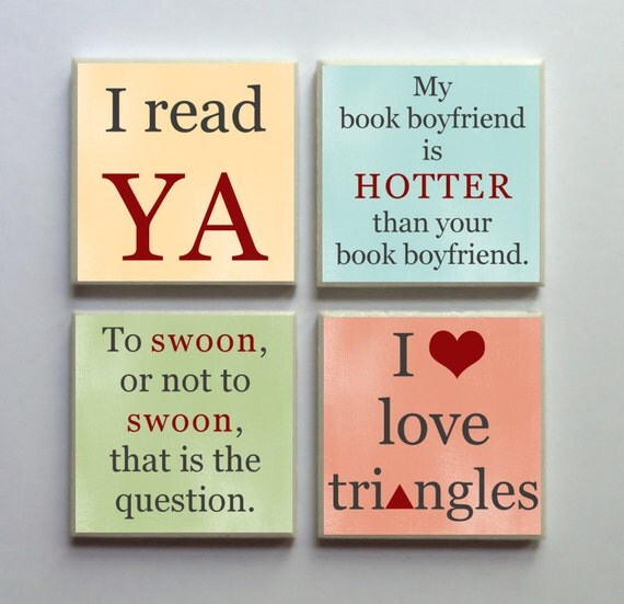 I Read YA - Ceramic Tile 4-pc. Refrigerator Memo Magnet Set Magnets - Young Adult Books Phrases Swoonworthy