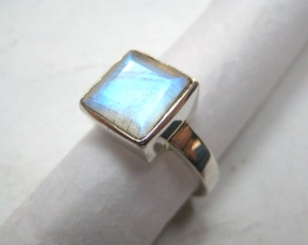 Rainbow Moonstone 925 Sterling Silver Ring , Fine Quality Rainbow Moonstone Blue Flashy Square Gemstone wedding engagement ring gift for her