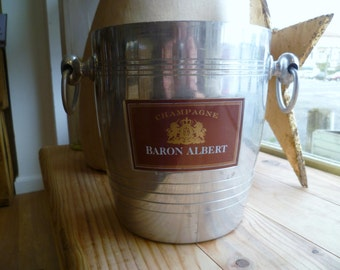 French Vintage Champagne Ice Bucket ChampagneBaron Albert Advertising Hotel / Bistro Ware