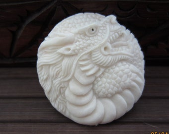 Amazing detail hand carved  Asia Dragon cabochon,  Buffalo bone carving, Jewelry making Supplies S3411
