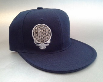 Flower of Life Stealie Fitted Hat made to order flat bill Grateful Dead FREE SHIPPING