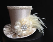 Off White Ivory Mini Top Hat for Wedding. Bachelorette Party, Bridal Shower, Tea Party or Photo Prop