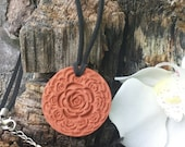 Round Textured ROSETTE Terra Cotta Essential Oil Diffuser Necklace - EO Diffuser - Aromatherapy Diffuser - Terra Cotta necklace