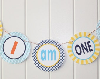 PREPPY  BEACH First Birthday Highchair Banner I Am One - Party Packs Available