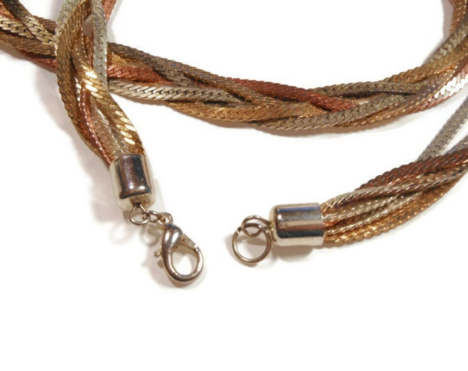 5 strand necklace and earrings, gold, silver copper herringbone necklace and earrings, long twisted braided chain