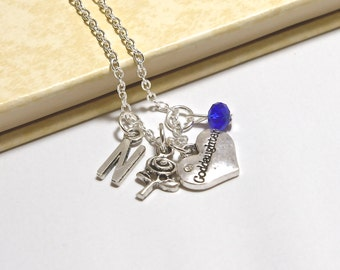 Personalized God Daughter Necklace with Your Initial and Birthstone - SP294
