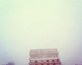 barn, country living, farm, fog, fine art photography