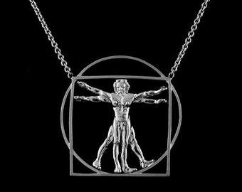 Silver Vitruvian Man Proportions of Man Leonardo Da Vinci Drawing Necklace Pendant With Frame