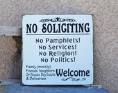 No Soliciting Sign - Hand Painted Sign