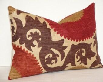 Decorative Pillow Cover- 12 x 18 - Fahri In Clove - Suzani - Red - Rust - Warm Brown - Tan