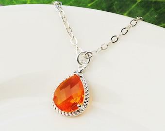 Orange Necklace - Bright Orange Pendant Necklace - Bridesmaid Necklace - Wedding Jewelry - Sterling Silver Chain