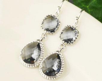 Charcoal Gray Earrings - Silver Grey Glass Drop Earrings - Gray Bridesmaid Earrings - Wedding Jewelry - Bridesmaid Jewelry