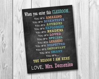 Chalkboard sign, chalkboard printable, Teacher's sign, Classroom sign, Teacher appreciation