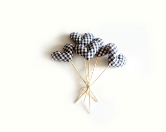 hearts bouquet - blue white gingham