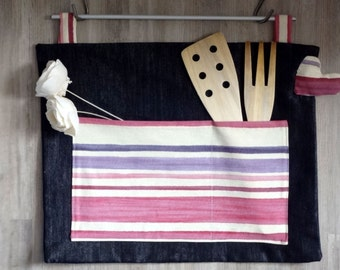Kitchen wall organizer - gift - pink to violet stripes - kitchen accessories