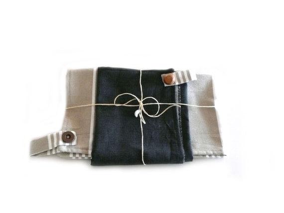 Kitchen towels  - gift - ecru brown beige- mum