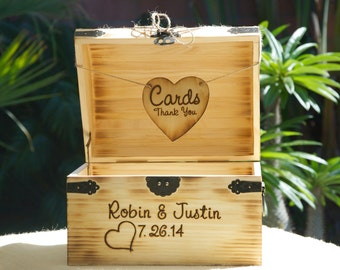 Medium Rustic Wedding Card Box - Treasure Chest - Burned/Engraved - Personalized Rustic Card Box - Torched and hand Burned/Engraved