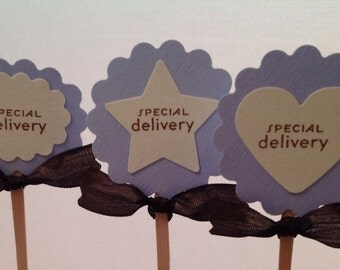 Baby boy cupcake toppers- blue cupcake toppers picks