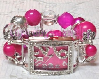 Hot Pink/Fushia - Beaded Interchangeable Watch Band, Pink Chunky Beaded Watch Band