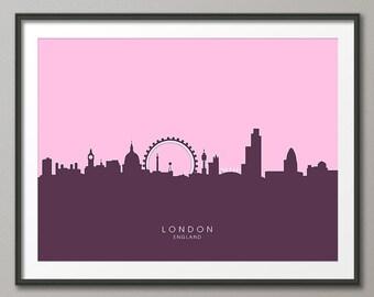 London Skyline, London Cityscape England, Art Print (615)