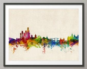 Amsterdam Skyline, Amsterdam The Netherlands Cityscape Holland, Art Print (1046)
