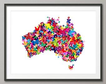 Australia Butterfly Map, Art Print (1061)