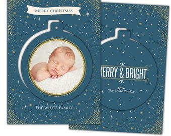INSTANT DOWNLOAD - Christmas Pop-out card photoshop template - e943