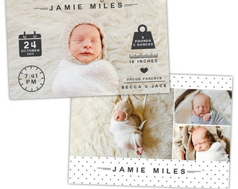INSTANT DOWNLOAD - Photoshop Birth announcement template -  e1058