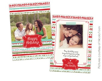 INSTANT DOWNLOAD - Christmas Photo card template - Colorful Holidays - E503