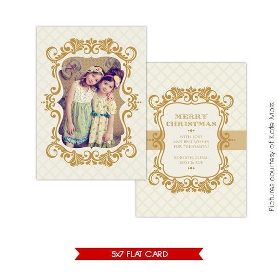 INSTANT DOWNLOAD - Holiday Card Photoshop Template - Vintage gold frame - E124