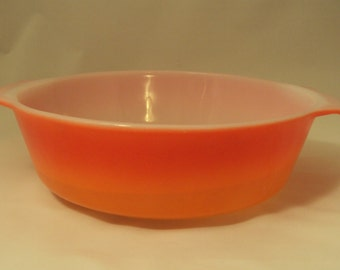 Vintage Anchor Hocking Fire King Glass Casserole Flame Red Orange