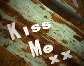 Vintage Letters, KISS ME, Typography, Ceramic 3D Letters, Customizable