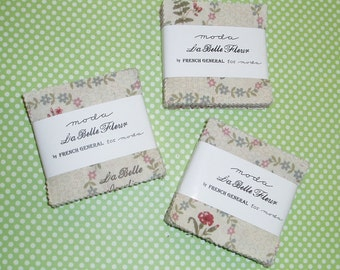 3 - La Belle Fleur Mini Charm Packs by  French General for Moda Fabrics.