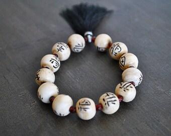CHINESE BONE bracelet /good luckbracelet/ healing bracelet/TASSEL bracelet