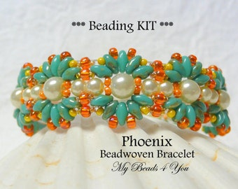 Beadwoven Bracelet Kit, PDF Beadwork Tutorial, Kit, PDF Beaded Bracelet Pattern, Beading Instructions, Seed Bead Tutorial, Beading Kit,