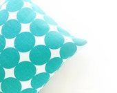 Polka Dot Throw Pillow - modern, mod, midcentury, turquoise, teal, pillow cover, housewarming gift, 16x16, 12x16