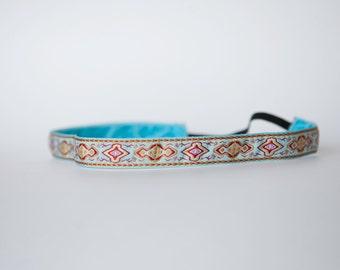 "No Slip Headband Classic Jacquard Turquoise 5/8"""