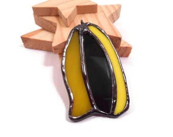 Stained Glass Jewelry Black Yellow Shards Glass Jewelry Pendant Glass and Metal Jewelry Handmade Necklace Statement Jewelry Yellow Black