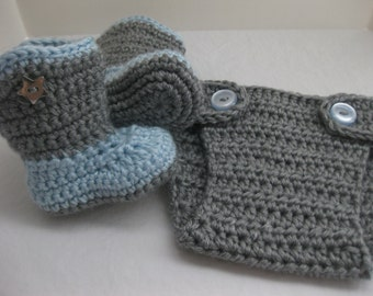 Baby Boy Boots, Diaper Cover, SET, Grey, Blue, Cowboy, Newborn, Newborn Photos, Photo Prop