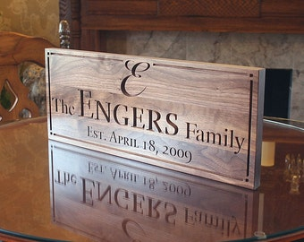 Family Established Sign, Last Name Sign, Personalized Sign, Carved Wedding Sign, Family Name Sign, Benchmark Custom Signs Walnut WW