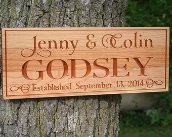 Family Name Sign, Important Date Sign, Established Sign, Benchmark Custom Signs Cherry WJ2