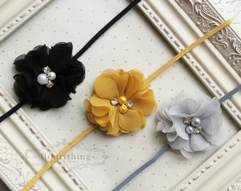 Headband Set- Mustard, Black and Grey Headbands, black headband, newborn headbands, girls headbands, photography prop